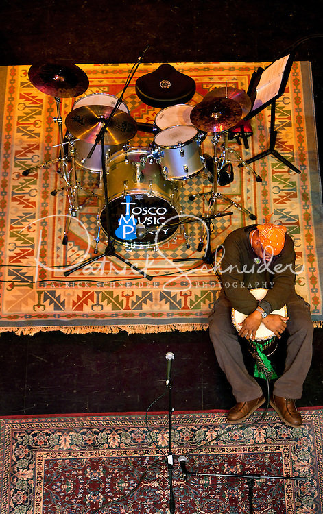 A drummer waits to perform during the 20th year of the Tosco Music Party, held at the Overcash Academic and Performing Arts Center Dale F. Halton Theater Central Piedmont Community College. The annual event, named after John Tosco, owner of the Tosco Music Studio, is designed to showcase professional and amateur musicians.