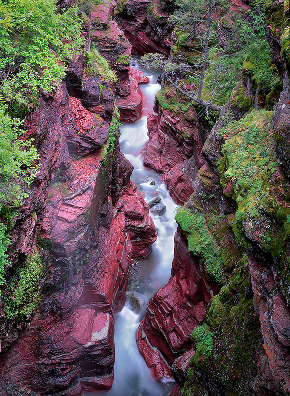 Narrow section of Red Rock Canyon. Waterton National Park, Canada.