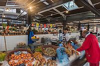 France, Gironde (33),Bassin d'Arcachon, Arcachon: Le Marché- Etal poissonnerie: Chez Laurette //  France, Gironde, Bassin d'Arcachon, Arcachon: The market, fish stall
