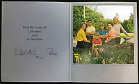 BNPS.co.uk (01202 558833)<br /> Pic: Rowleys/BNPS<br /> <br /> Pictured: Colourful group for the last card dating from 1972 sold for £100<br /> <br /> A series of Christmas cards sent by the Royal Family to a married couple on their staff over a 25 year period have sold for £2,000.<br /> <br /> Most of the cards were sent by the Queen and Prince Philip and show the changing face of the monarchy from the black-and-white post war world to the colourful 1970s.<br /> <br /> They were sent to the couple who worked at Balmoral, the wife in the house and the husband on the estate.<br /> <br /> The cards were sold individually with the most expensive being the one for Christmas 1947 which was signed by King George VI and the Queen Mother.