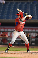 Travis Blankenhorn (3) of Pottsville Area High School in Pottsville, Pennsylvania playing for the Philadelphia Phillies scout team during the East Coast Pro Showcase on July 31, 2014 at NBT Bank Stadium in Syracuse, New York.  (Mike Janes/Four Seam Images)