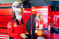 10th October 2020, Nuerburgring, Nuerburg, Germany; FIA Formula 1 Eifel Grand Prix, Qualifying sessions;  5 Sebastian Vettel GER, Scuderia Ferrari Mission Winnow in the pits