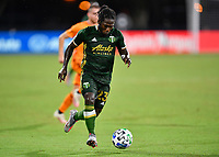 LAKE BUENA VISTA, FL - JULY 18: Yimmi Chará #23 of the Portland Timbers attacks space during a game between Houston Dynamo and Portland Timbers at ESPN Wide World of Sports on July 18, 2020 in Lake Buena Vista, Florida.