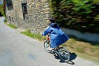 Boy biking down a country road.