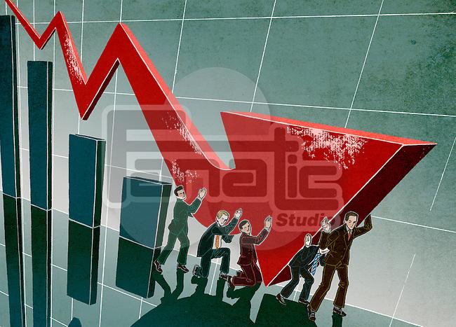 Sales team pushing arrow in upward direction