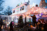 NEW YORK, UNITED STATES - NOVEMBER 22: View of the Ecuadorian family home in Vallery Stream on November 22, 2020 in New York. Although the year has not been easy due to the difficulties of the global pandemic that created the Covid-19, this Ecuadorian family uses more than 5000 colored light bulbs, hundreds of Christmas objects and more than two months of work to welcome this last month of the year and like Thanksgiving. Photo by Pablo Monsalve / VIEWpress via Getty Images)