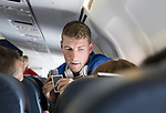 FK Trakai v St Johnstone…05.07.17… Europa League 1st Qualifying Round 2nd Leg<br />David Wotherspoon playing cards on the flight to Vilnius in Lithuania<br />Picture by Graeme Hart.<br />Copyright Perthshire Picture Agency<br />Tel: 01738 623350  Mobile: 07990 594431
