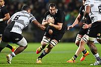 17th July 2021; Hamilton, New Zealand;  Sam Whitelock runs at Johnny Dyer.<br /> All Blacks versus Fiji, Steinlager Series, international rugby union test match. FMG Stadium Waikato, Hamilton, New Zealand.