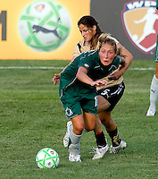 Saint Louis Athletica midfielder Amanda Cinalli (15) and FC Gold Pride midfielder Tina DiMartino (5) during a WPS match at Anheuser-Busch Soccer Park, in St. Louis, MO, July 26, 2009.  The match ended in a 1-1 tie.