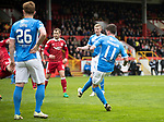 Aberdeen v St Johnstone…29.04.17     SPFL    Pittodrie<br />Danny Swanson scores saints first goal<br />Picture by Graeme Hart.<br />Copyright Perthshire Picture Agency<br />Tel: 01738 623350  Mobile: 07990 594431