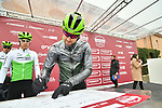Bernhard Eisel (AUT) Team Dimension Data at sign on before the start of the 2018 Strade Bianche NamedSport race running 184km from Siena to Siena, Italy. 3rd March 2018.<br /> Picture: LaPresse/Massimo Paolone | Cyclefile<br /> <br /> <br /> All photos usage must carry mandatory copyright credit (© Cyclefile | LaPresse/Massimo Paolone)