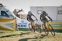 former teammates & both 'pocket atletes' Lars van der Haar (NED/Telenet Fidea Lions) & Tom Pidcock (GBR) turning into the last lap together<br /> <br /> Superprestige Ruddervoorde 2018 (BEL)