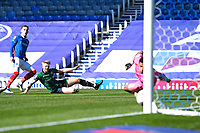 Ronan Curtis of Portsmouth left scores the second goal during Portsmouth vs Rochdale, Sky Bet EFL League 1 Football at Fratton Park on 2nd April 2021