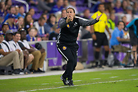 Orlando, FL - Saturday March 24, 2018: Utah Royals head coach Laura Harvey looks for a call during a regular season National Women's Soccer League (NWSL) match between the Orlando Pride and the Utah Royals FC at Orlando City Stadium. The game ended in a 1-1 draw.