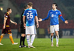 St Johnstone v Motherwell…15.12.18…   McDiarmid Park    SPFL<br />Joe Shaughnessy appeals to ref Alan Muir<br />Picture by Graeme Hart. <br />Copyright Perthshire Picture Agency<br />Tel: 01738 623350  Mobile: 07990 594431