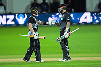 NZ's Glenn Phillips and Daryl Mitchell during the second International T20 cricket match between the New Zealand Black Caps and Bangladesh at McLean Park in Napier, New Zealand on Tuesday, 30 March 2021. Photo: Dave Lintott / lintottphoto.co.nz