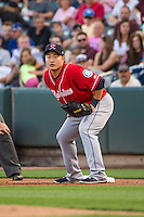 Tacoma Rainiers first baseman Ji-Man Choi (38) on defense against the Salt Lake Bees in Pacific Coast League action at Smith's Ballpark on September 2, 2015 in Salt Lake City, Utah. Tacoma defeated Salt Lake 13-6. (Stephen Smith/Four Seam Images)