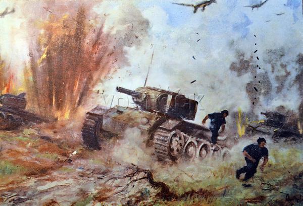 DYERCM German world War Two postcard showing an attack by German stuka aircraft on Russian tanks