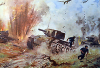 DYERCM German world War Two postcard showing an attack by German stuka aircraft on Russian tanks