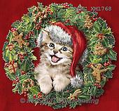 Marcello, CHRISTMAS ANIMALS, WEIHNACHTEN TIERE, NAVIDAD ANIMALES, paintings+++++,ITMCXM1768,#XA# ,christmas wreath ,cats,kittens