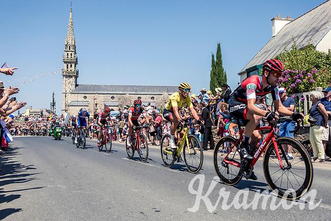 Yellow Jersey Greg Van Avermaet (BEL/BMC) in the peloton rolling through town. <br /> <br /> <br /> Stage 6: Brest > Mûr de Bretagne / Guerlédan (181km)<br /> <br /> 105th Tour de France 2018<br /> ©kramon