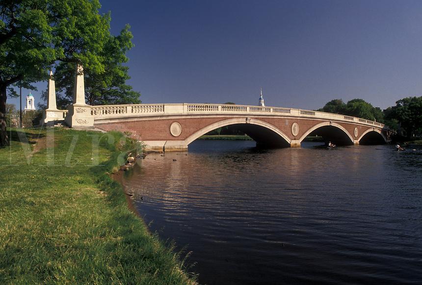 AJ4451, Cambridge, Boston, bridge, Charles River, Massachusetts, Weeks Memorial Bridge (a foot bridge) crosses over the Charles River in Cambridge in the state of Massachusetts.