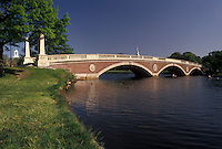 AJ4451, Cambridge, Boston, bridge, Charles River, Massachusetts, Weeks Memorial Bridge (a foot bridge) crosses over the Charles River in Cambridge in the state of Massachusetts.
