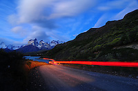 Road to  Torres del Paine mountains