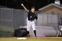 Kannapolis Intimidators third baseman Zach Remillard (8) makes a throw to first base against the Lakewood BlueClaws at Kannapolis Intimidators Stadium on April 6, 2017 in Kannapolis, North Carolina.  The BlueClaws defeated the Intimidators 7-5.  (Brian Westerholt/Four Seam Images)