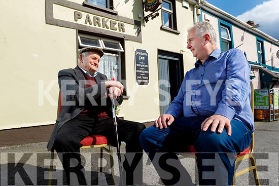 95 year old John Carmody from Kilflynn chatting with Michael Parker outside the pub as John is looking forward to the pub re opening.