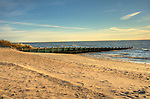 Knollwood Beach area bench, Route 154, Old Saybrook, CT. Long Island Sound. Breakwater pier.