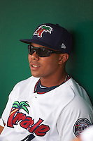 Fort Myers Miracle LaMonte Wade (4) in the dugout before a game against the St. Lucie Mets on August 9, 2016 at Hammond Stadium in Fort Myers, Florida.  St. Lucie defeated Fort Myers 1-0.  (Mike Janes/Four Seam Images)