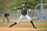 Dayton Dragons starting pitcher Hunter Greene (3) throws a pitch against the Burlington Bees at Community Field on May 3, 2018 in Burlington, Iowa.  (Dennis Hubbard/Four Seam Images)