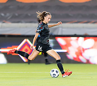 HOUSTON, TX - SEPTEMBER 10: Sarah Woldmoe #16 of the Chicago Red Stars passes the ball to a teammate during a game between Chicago Red Stars and Houston Dash at BBVA Stadium on September 10, 2021 in Houston, Texas.