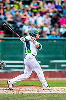 25 July 2017: Vermont Lake Monsters outfielder Payton Squier, a 16th round draft pick for the Oakland Athletics, in action against the Tri-City ValleyCats at Centennial Field in Burlington, Vermont. The Lake Monsters defeated the ValleyCats 11-3 in NY Penn League action. Mandatory Credit: Ed Wolfstein Photo *** RAW (NEF) Image File Available ***