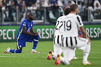 29th September 2021; Turin, Italy;    Romelu Lukaku takes a knee before the game starts; UEFA Champions League;  group H match between Juventus and Chelsea at the Juventus Stadium, Turin, Italy