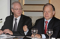 Montreal (QC) CANADA, January 18, 2008 - Jacques St-Laurent, President, Bell Helicopter Textron Canada Limited (L) and<br /> <br /> Raymond Bachand, minister of economic development of innovation and export trade in the cabinet of Premier of Quebec Jean Charest (R) take part in <br /> Perspective 2008, organized by the Jeune Chambre de Commerce de Montreal.<br /> <br /> photo : (c) ¨Pierre Roussel -  images Distribution