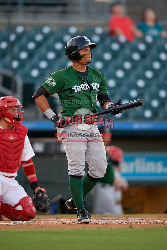 Daytona Tortugas second baseman Randy Ventura (1) during a Florida State League game against the Palm Beach Cardinals on April 11, 2019 at Roger Dean Stadium in Jupiter, Florida.  Palm Beach defeated Daytona 6-0.  (Mike Janes/Four Seam Images)