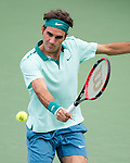 Roger Federer (SUI) wins first set 63 during the final of the Western & Southern Open against David Ferrer (ESP) in Mason, OH on August 17, 2014.