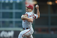 Arkansas Razorbacks relief pitcher Kevin Kopps (45) in action against the Oklahoma Sooners in game two of the 2020 Shriners Hospitals for Children College Classic at Minute Maid Park on February 28, 2020 in Houston, Texas. The Sooners defeated the Razorbacks 6-3. (Brian Westerholt/Four Seam Images)