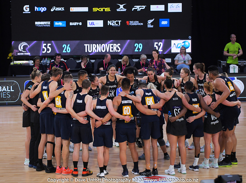 The teams huddle after the Cadbury Netball Series final between NZ Silver Ferns and NZ Men at the Fly Palmy Arena in Palmerston North, New Zealand on Saturday, 24 October 2020. Photo: Dave Lintott / lintottphoto.co.nz