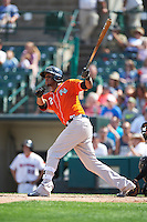 Norfolk Tides third baseman Michael Almanzar (2) at bat during a game against the Rochester Red Wings on July 17, 2016 at Frontier Field in Rochester, New York.  Rochester defeated Norfolk 3-2.  (Mike Janes/Four Seam Images)