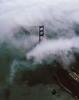 aerial photograph Golden Gate bridge fog San Francisco bay California