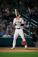 Rochester Red Wings Brent Rooker (19) bats during an International League game against the Scranton/Wilkes-Barre RailRiders on June 24, 2019 at Frontier Field in Rochester, New York.  Rochester defeated Scranton 8-6.  (Mike Janes/Four Seam Images)
