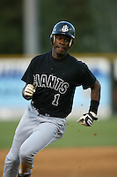 Freddie Lewis of the San Jose Giants runs the bases during a 2004 season California League game against the Rancho Cucamonga Quakes at The Epicenter in Rancho Cucamonga, California. (Larry Goren/Four Seam Images)
