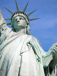 Close up view of the Statue of Liberty on Liberty Island in New York City.