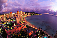 View of Waikiki beach with hotels and Diamond head taken from the top of the Sheraton Waikiki hotel