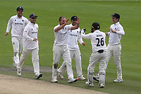 Sussex bowler, Stiaan Van Zyl celebrates taking the wicket of Glamorgan batsman, Billy Root during Sussex CCC vs Glamorgan CCC, LV Insurance County Championship Group 3 Cricket at The 1st Central County Ground on 5th July 2021