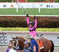 HALLANDALE, FLORIDA - MARCH 30: Maximum Security #7, ridden by Luis Saez, wins the Florida Derby at Gulfstream Park on March 30, 2019 in Hallandale, Florida<br /> <br /> <br /> People: Maximum Security, Luis Saez