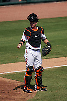 Baltimore Orioles catcher Chance Sisco (15) during a Major League Spring Training game against the Philadelphia Phillies on March 12, 2021 at the Ed Smith Stadium in Sarasota, Florida.  (Mike Janes/Four Seam Images)